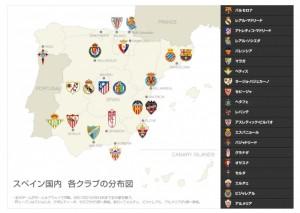 スペインサッカー分布図